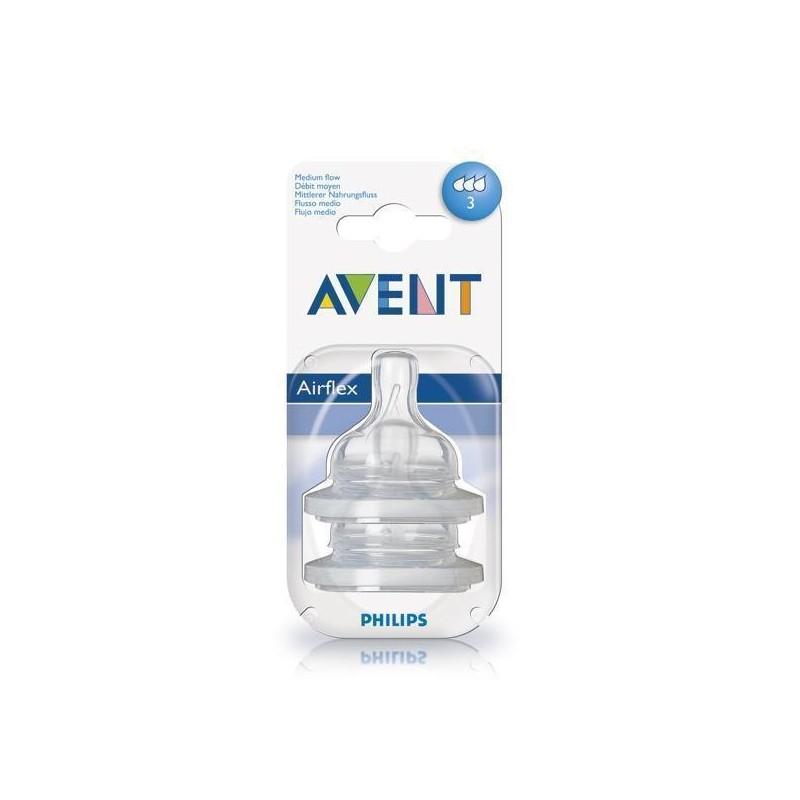 Tetina Clasic Airflex cu 3 orificii pentru bebelusi +3 luni Philips Avent 2buc